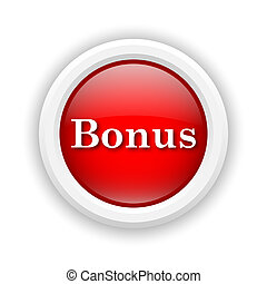 Bonus icon - Round plastic icon with white design on red...