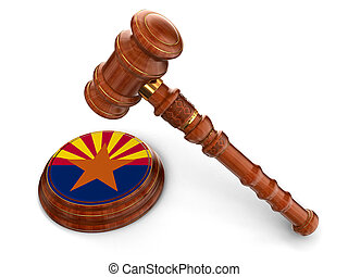 Wooden Mallet and flag Of Arizona - 3d wooden mallet and...