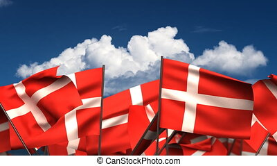 Waving Danish Flags seamless alpha channel