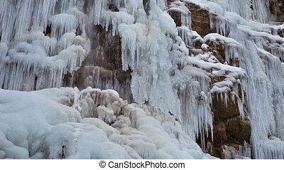Frozen waterfall with ice