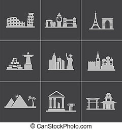 Vector black landmarks icons set on gray background