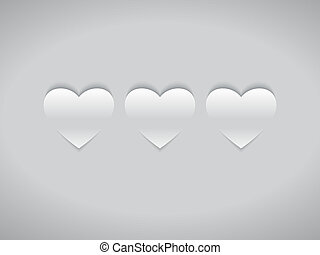 Three White Hearts in Flat Design Style on Grey Background....