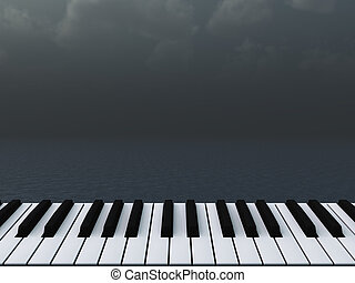piano keyboard and dark water landscape - 3d illustration