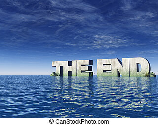 end - the end rock at the ocean - 3d illustration