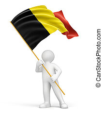 Man and Belgian flag. Image with clipping path