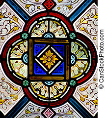 Stained Glass - Pretty pattern in a stained glass window - a...