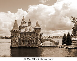 Power house on ontario Lake, Canada by beautiful cloudy day,...