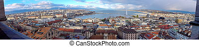 Geneva city panorama, Switzerland HDR - Panorama of Geneva...