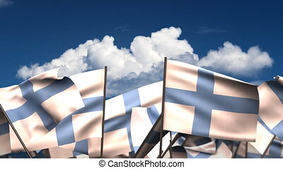 Waving Finnish Flags seamless alpha channel