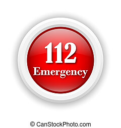 112 Emergency icon - Round plastic icon with white design on...
