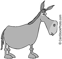Gray donkey - This illustration depicts the side view of a...