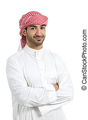 Arab man posing happy with folded arms isolated on a white...