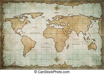old world map background - aged treasure map with compass...