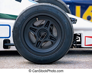 formula 1 racing car - Front wheel ande tire of a historic...