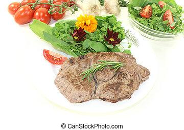 Sirloin steak with wild herb salad