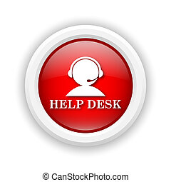 Helpdesk icon - Round plastic icon with white design on red...