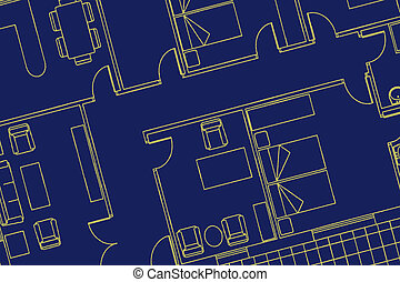 House plan in black background