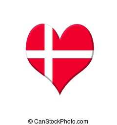 Denmark heart - Illustration with a Denmark heart on white...