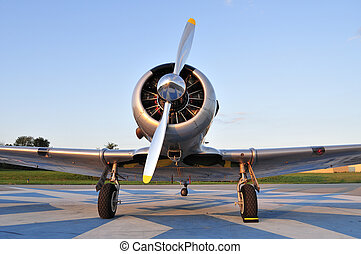 WWII trainer aircraft - Frontal view of a vintage WWII...