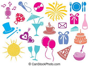 Party icons - Colorful party and celebration icon vector...
