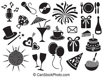 Party icons - Black party and celebration icon vector...