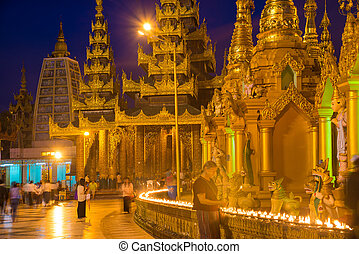 Shwedagon Pagoda in Yangon, Myanmar. Oldest building.