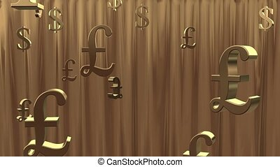 Golden rain of currency symbols. - Rain of currency symbols...