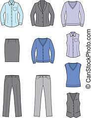 Business clothes - Vector illustration of womens business...