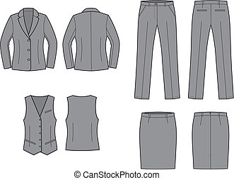 Business suit - Vector illustration of women's business...