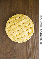 Apple pie with lattice top, uncooked - Uncooked apple pie...