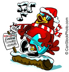 Rockin Robin red breast WBG, - Cartoon of Christmas robin...