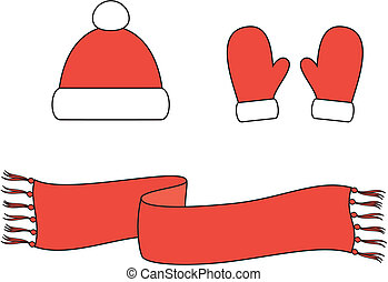Cap, scarf, mittens - Vector illustration of winter...