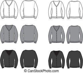 Cardigan - Vector illustration. Set of men's and women's...