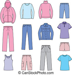 Casual clothes - Vector illustration of women's casual...