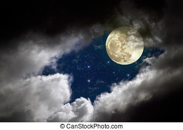 Full moon night - Cloudy full moon night with stars