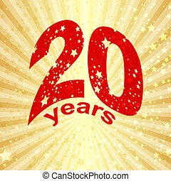 Greeting card with the 20th anniversary on gold vector eps...