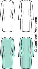 Dress - Vector illustration of women's elegant dress