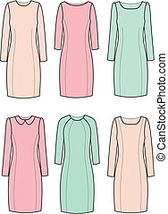 Dress - Vector illustration of womens classic dresses