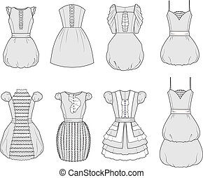 Dress - Vector illustration Set of womens romantic dresses
