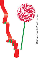 Lollipop and ribbon. Vector