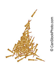 Stack of Rifle Bullets on White Background