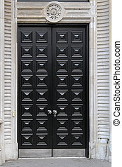 Black door - Big double wooden doors in black