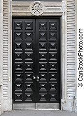 Black door - Big double wooden doors in black