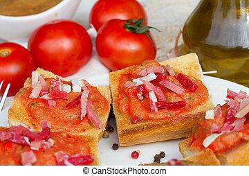 español, Tapas, -, bread, tomates, jamon