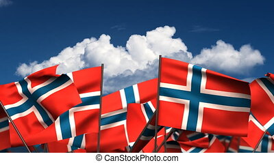 Waving Norwegian Flags seamless alpha channel