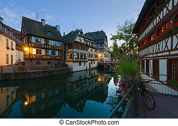 The Petite-France area in night Strasbourg - The...
