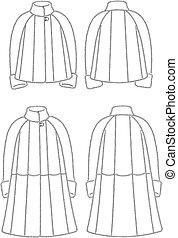 Fur coat - Vector illustration of womens fut coats Front and...