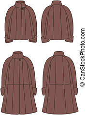 Fur coat - Vector illustration of women's fur coat. Front...