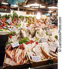 Greek fish market with tags