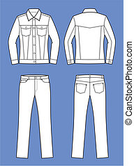 Jeans wear - Vector illustration of women's jeans clothes....